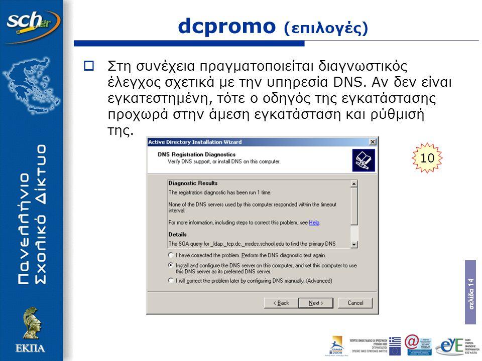 σελίδα 14 ΕΚΠΑ dcpromo (επιλογές)  Στη συνέχεια πραγµατοποιείται διαγνωστικός έλεγχος σχετικά µε την υπηρεσία DNS. Αν δεν είναι εγκατεστηµένη, τότε ο