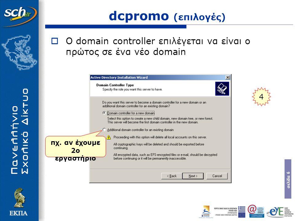 σελίδα 6 ΕΚΠΑ dcpromo (επιλογές)  Ο domain controller επιλέγεται να είναι ο πρώτος σε ένα νέο domain 4 πχ. αν έχουμε 2ο εργαστήριο