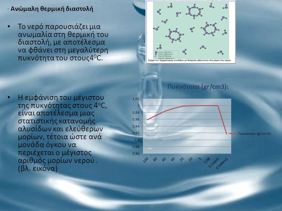 · Ανώμαλη θερμική διαστολή Το νερό παρουσιάζει μια ανωμαλία στη θερμική του διαστολή, με αποτέλεσμα να φθάνει στη μεγαλύτερη πυκνότητα του στους4 0 C.