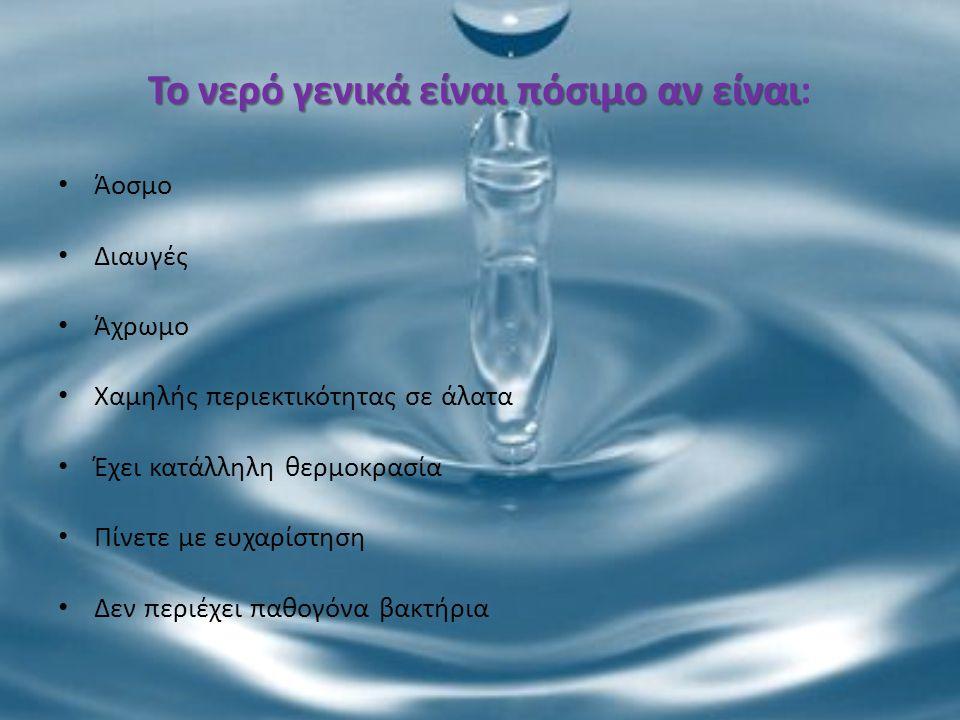 Το νερό γενικά είναι πόσιμο αν είναι Το νερό γενικά είναι πόσιμο αν είναι: Άοσμο Διαυγές Άχρωμο Χαμηλής περιεκτικότητας σε άλατα Έχει κατάλληλη θερμοκ
