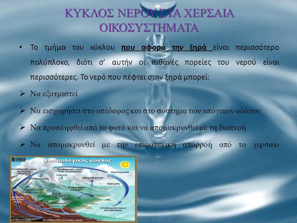 ΚΥΚΛΟΣ ΝΕΡΟΥ ΣΤΑ ΧΕΡΣΑΙΑ ΟΙΚΟΣΥΣΤΗΜΑΤΑ Το τμήμα του κύκλου που αφορά την ξηρά είναι περισσότερο πολύπλοκο, διότι σ' αυτήν οι πιθανές πορείες του νερού