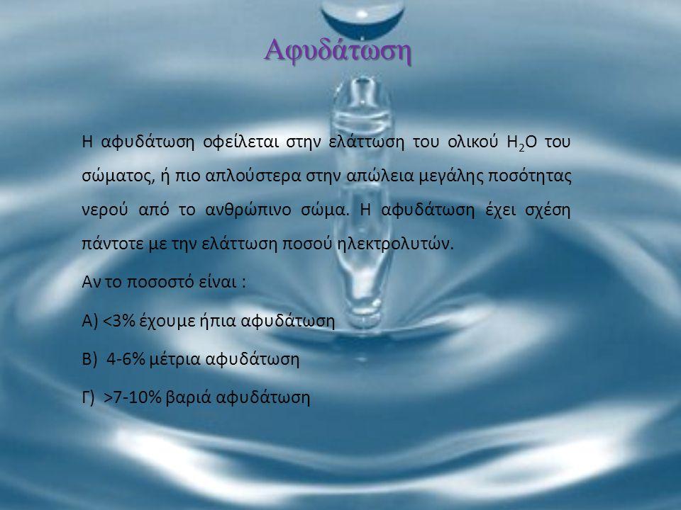 Αφυδάτωση Η αφυδάτωση οφείλεται στην ελάττωση του ολικού H 2 O του σώματος, ή πιο απλούστερα στην απώλεια μεγάλης ποσότητας νερού από το ανθρώπινο σώμ