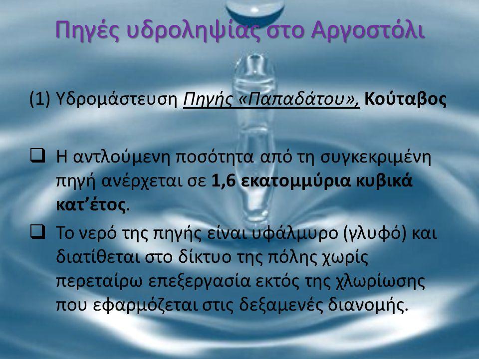 Πηγές υδροληψίας στο Αργοστόλι (1)Υδρομάστευση Πηγής «Παπαδάτου», Κούταβος  Η αντλούμενη ποσότητα από τη συγκεκριμένη πηγή ανέρχεται σε 1,6 εκατομμύρ