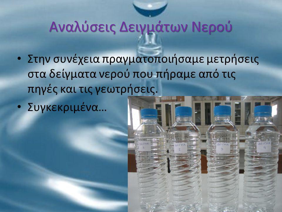 Αναλύσεις Δειγμάτων Νερού Στην συνέχεια πραγματοποιήσαμε μετρήσεις στα δείγματα νερού που πήραμε από τις πηγές και τις γεωτρήσεις. Συγκεκριμένα…