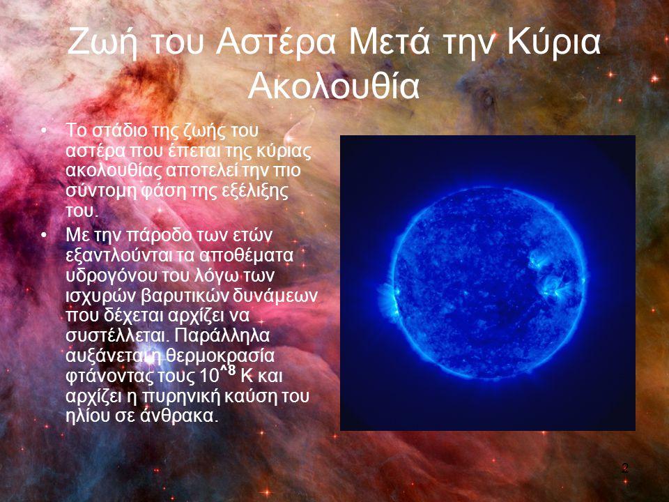 Ερυθρός Γίγαντας Με αυτή τη διαδικασία οι αστέρες με μάζα μεγαλύτερη από 0.4 ηλιακές μάζες αρχίζουν να εκλύουν μεγάλα ποσά ενέργειας και στη συνέχεια διαστέλλονται οδηγώντας στη δημιουργία των ερυθρών γιγάντων.