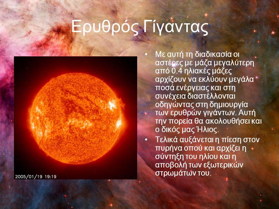 Ερυθρός Υπεργίγαντας Αν η μάζα του αστέρα ξεπερνά τις 9 ηλιακές μάζες τότε θα δημιουργηθούν ερυθροί υπεργίγαντες.