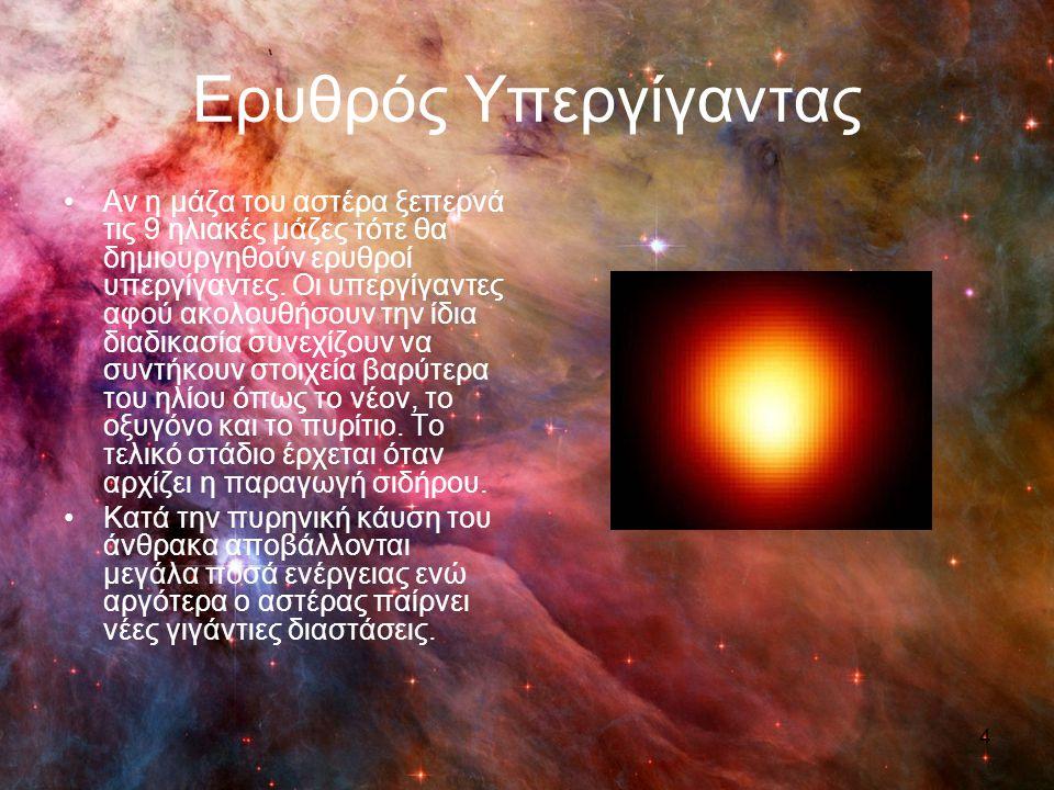 Ερυθρός Υπεργίγαντας Αν η μάζα του αστέρα ξεπερνά τις 9 ηλιακές μάζες τότε θα δημιουργηθούν ερυθροί υπεργίγαντες. Οι υπεργίγαντες αφού ακολουθήσουν τη