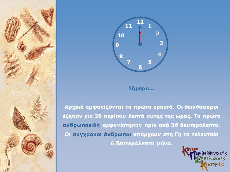 12 4 3 1 5 2 6 7 8 9 11 10 Σήμερα... Αρχικά εμφανίζονται τα πρώτα ερπετά. Οι δεινόσαυροι έζησαν για 26 περίπου λεπτά αυτής της ώρας. Τα πρώτα ανθρωποε