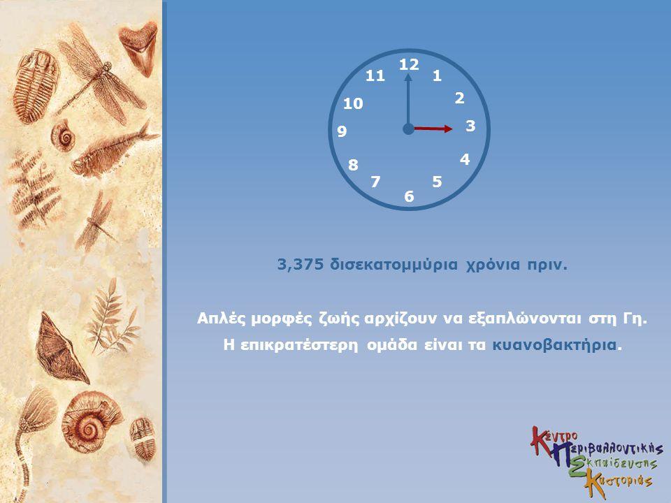 12 4 3 1 5 2 6 7 8 9 11 10 3,375 δισεκατομμύρια χρόνια πριν. Απλές μορφές ζωής αρχίζουν να εξαπλώνονται στη Γη. Η επικρατέστερη ομάδα είναι τα κυανοβα