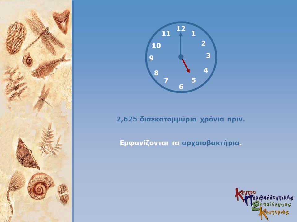 12 4 3 1 5 2 6 7 8 9 11 10 2,625 δισεκατομμύρια χρόνια πριν. Εμφανίζονται τα αρχαιοβακτήρια.