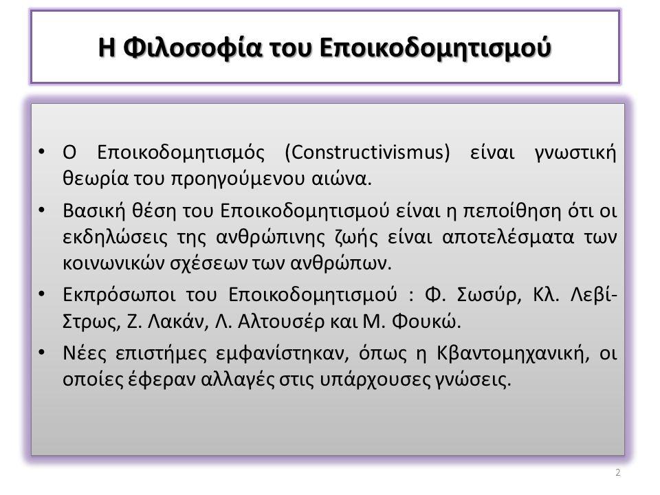 Η Φιλοσοφία του Εποικοδομητισμού Ο Εποικοδομητισμός (Constructivismus) είναι γνωστική θεωρία του προηγούμενου αιώνα. Βασική θέση του Εποικοδομητισμού