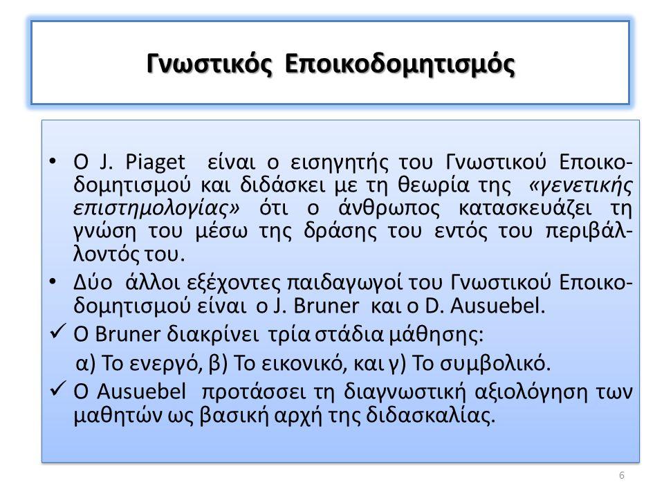 Γνωστικός Εποικοδομητισμός Ο J. Piaget είναι ο εισηγητής του Γνωστικού Εποικο- δομητισμού και διδάσκει με τη θεωρία της «γενετικής επιστημολογίας» ότι