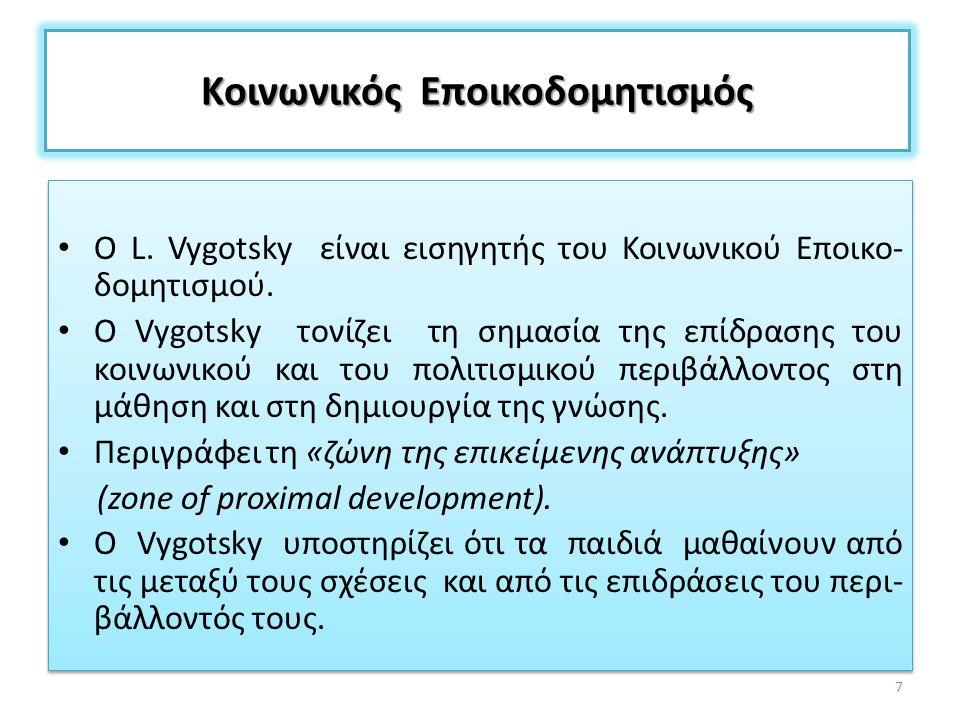 Κοινωνικός Εποικοδομητισμός Ο L. Vygotsky είναι εισηγητής του Κοινωνικού Εποικο- δομητισμού. Ο Vygotsky τονίζει τη σημασία της επίδρασης του κοινωνικο