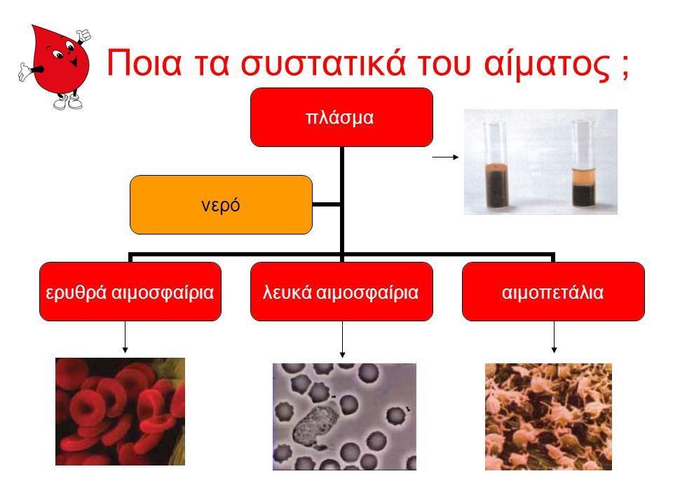 Σε τι χρησιμεύει το αίμα; Είναι ο μεγαλύτερος τροφοδότης του οργανισμού. Μεταφέρει θρεπτικά συστατικά. Μεταφέρει το οξυγόνο από τους πνεύμονες στους ι