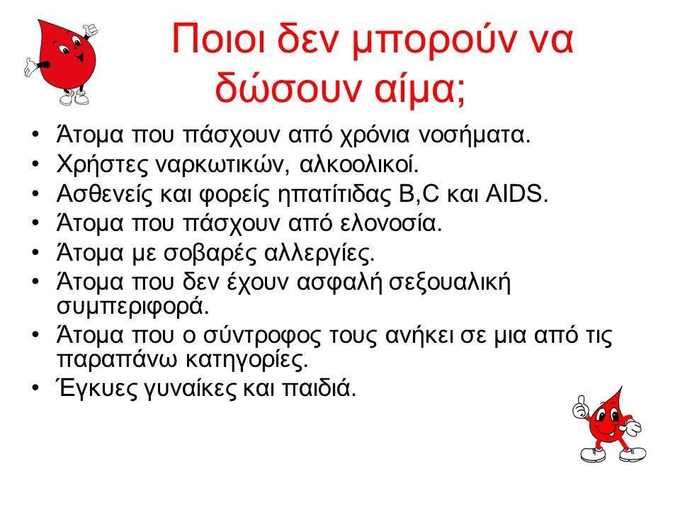 Ποιοι μπορούν να δώσουν αίμα; Κάθε υγιής, άνδρας ή γυναίκα ηλικίας 18-65 ετών. Η συχνότητα με την οποία μπορεί να δίνει κανείς αίμα είναι 3-4 φορές το