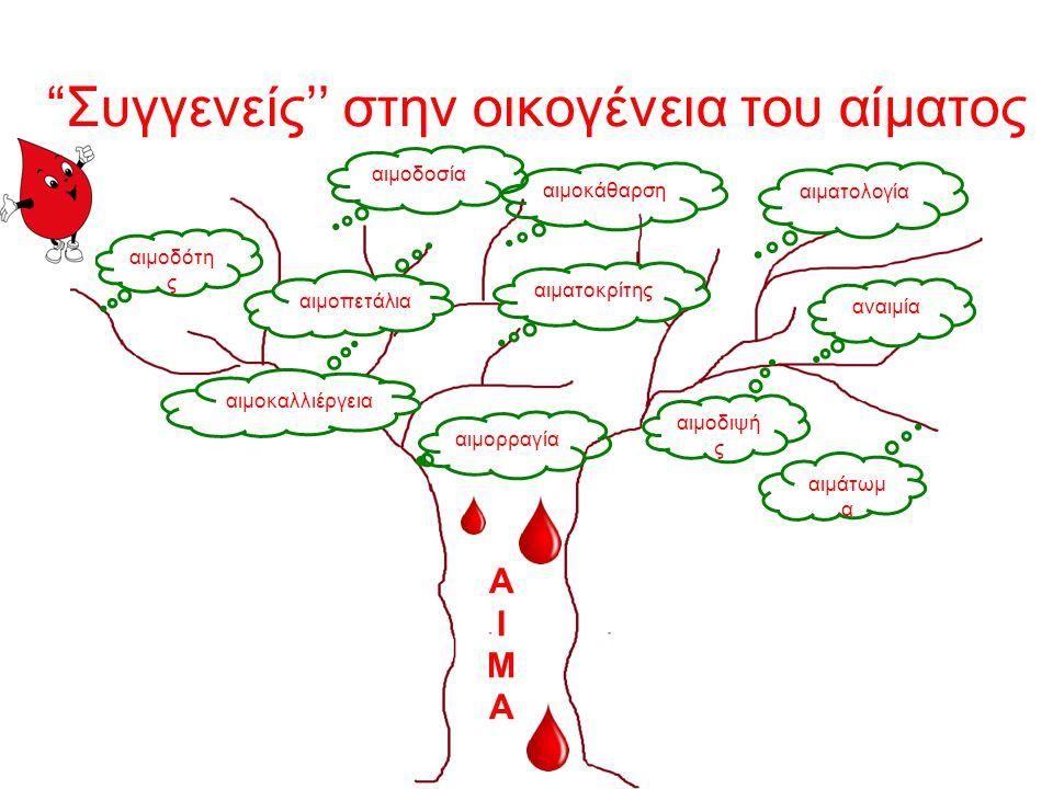 αίμα = ζωή Τώρα που έμαθες για την αξία μου πιστεύω πως καταλαβαίνεις και τη σημασία των φράσεων: «Είσαι αίμα μου» «Έδωσε το αίμα του για την πατρίδα» «Το αίμα νερό δε γίνεται» «Τους συνδέουν δεσμοί αίματος» «Δώσε αίμα, σώσε μια ζωή»