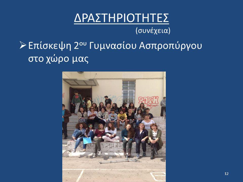 12 ΔΡΑΣΤΗΡΙΟΤΗΤΕΣ (συνέχεια)  Επίσκεψη 2 ου Γυμνασίου Ασπροπύργου στο χώρο μας
