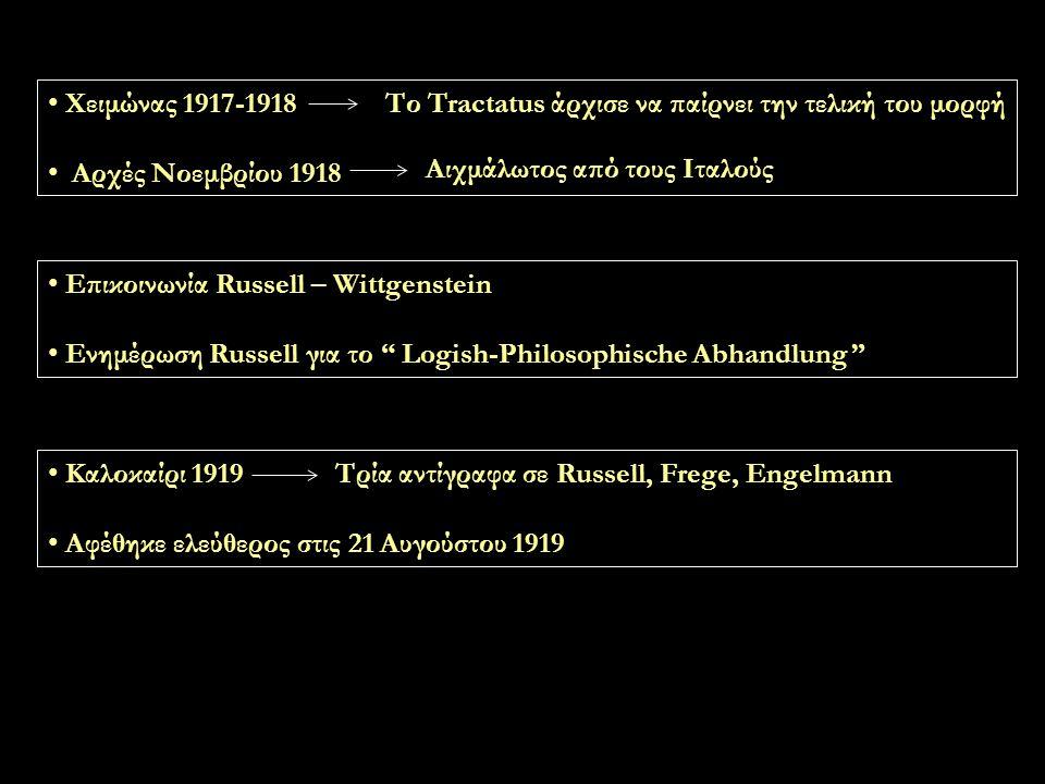 Χειμώνας 1917-1918 Αρχές Νοεμβρίου 1918 Το Tractatus άρχισε να παίρνει την τελική του μορφή Αιχμάλωτος από τους Ιταλούς Επικοινωνία Russell – Wittgenstein Ενημέρωση Russell για το Logish-Philosophische Abhandlung Καλοκαίρι 1919 Αφέθηκε ελεύθερος στις 21 Αυγούστου 1919 Τρία αντίγραφα σε Russell, Frege, Engelmann