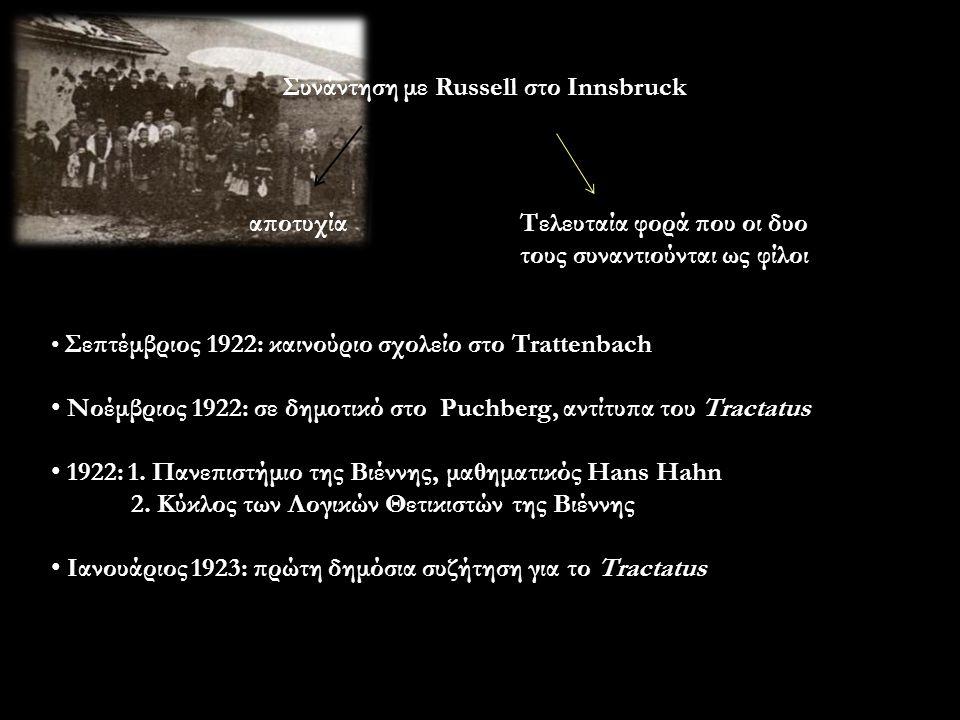 Συνάντηση με Russell στο Innsbruck αποτυχίαΤελευταία φορά που οι δυο τους συναντιούνται ως φίλοι Σεπτέμβριος 1922: καινούριο σχολείο στο Trattenbach Νοέμβριος 1922: σε δημοτικό στο Puchberg, αντίτυπα του Tractatus 1922: 1.