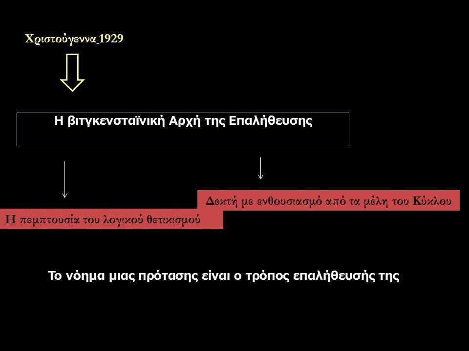 Χριστούγεννα 1929 Η βιτγκενσταϊνική Αρχή της Επαλήθευσης Δεκτή με ενθουσιασμό από τα μέλη του Κύκλου Η πεμπτουσία του λογικού θετικισμού Το νόημα μιας πρότασης είναι ο τρόπος επαλήθευσής της