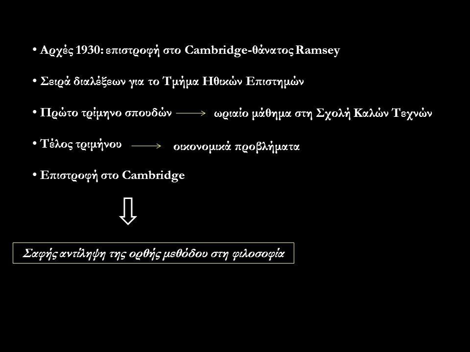 Αρχές 1930: επιστροφή στο Cambridge-θάνατος Ramsey Σειρά διαλέξεων για το Τμήμα Ηθικών Επιστημών Πρώτο τρίμηνο σπουδών Τέλος τριμήνου Επιστροφή στο Cambridge ωριαίο μάθημα στη Σχολή Καλών Τεχνών οικονομικά προβλήματα Σαφής αντίληψη της ορθής μεθόδου στη φιλοσοφία
