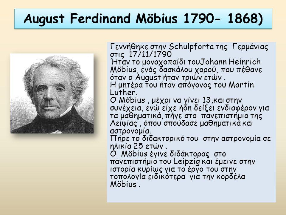 August Ferdinand Möbius 1790- 1868) Γεννήθηκε στην Schulpforta της Γερμάνιας στις 17/11/1790 Ήταν το μοναχοπαίδι τουJohann Heinrich Möbius, ενός δασκά