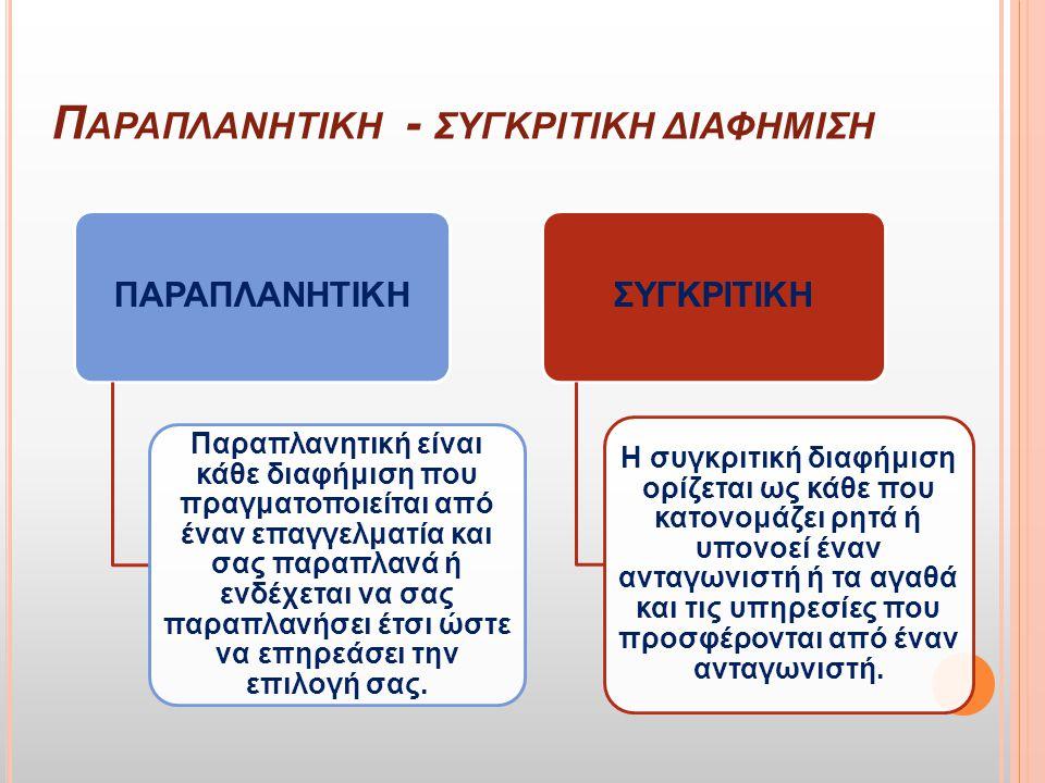 Δ ΕΟΝΤΟΛΟΓΙΑ ΔΙΑΦΗΜΙΣΗΣ Ελληνικός Κώδικας Διαφήμισης-Επικοινωνίας και ορίζει τους κανόνες επαγγελματικής δεοντολογίας και ηθικής συμπεριφοράς, που πρέπει να τηρούνται απέναντι στον πολίτη-καταναλωτή: 1) Ευπρέπεια [Άρθρο 1] 2) Τιμιότητα [Άρθρο 2] 3) Κοινωνική ευθύνη [Άρθρο 3] 4) Αλήθεια[Άρθρο 4] 5) Συγκρίσεις [Άρθρο 5] 6) Επώνυμες μαρτυρίες [Άρθρο 6] 7) Δυσφήμηση [Άρθρο 7] 8) Προστασία της ιδιωτικής ζωής [Άρθρο 8] 9) Σεβασμός στην ασφάλεια [Άρθρο 12] 10) Παιδιά και νέοι [Άρθρο 13] 11) Ευθύνη [Άρθρο 14] 12) Νομική και ηθική υποχρέωση [Άρθρο 17]