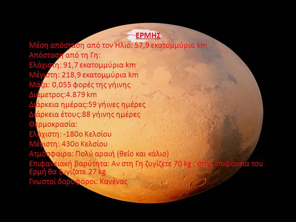 ΕΡΜΗΣ Μέση απόσταση από τον Ήλιο: 57,9 εκατομμύρια km Απόσταση από τη Γη: Ελάχιστη: 91,7 εκατομμύρια km Μέγιστη: 218,9 εκατομμύρια km Μάζα: 0,055 φορέ