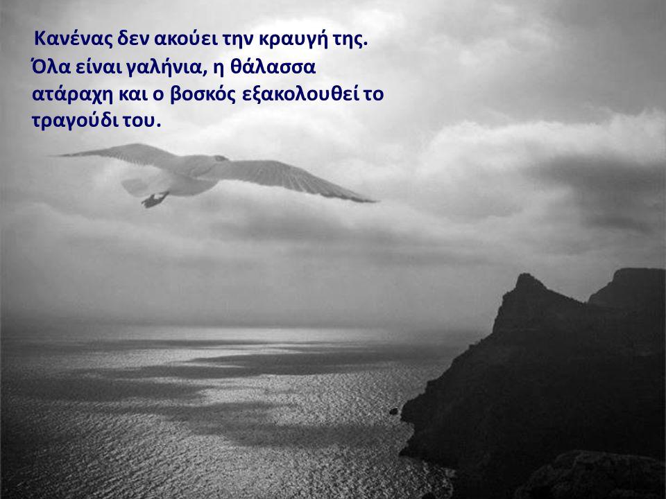 Κανένας δεν ακούει την κραυγή της. Όλα είναι γαλήνια, η θάλασσα ατάραχη και ο βοσκός εξακολουθεί το τραγούδι του.