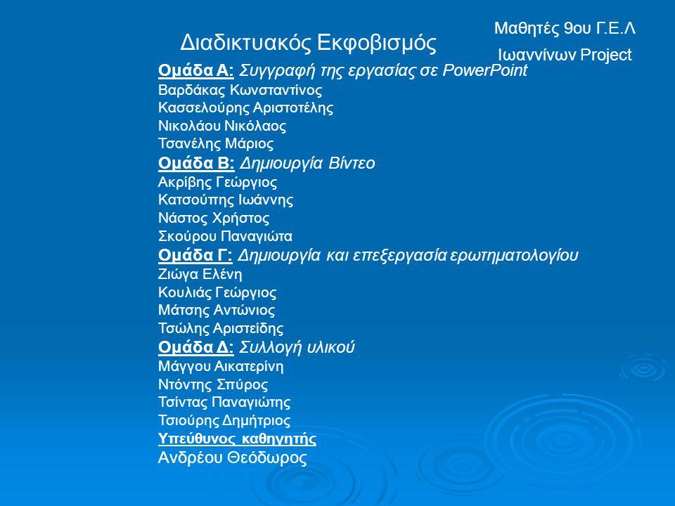 Διαδικτυακός Εκφοβισμός Μαθητές 9ου Γ.Ε.Λ Ιωαννίνων Project Ομάδα Α: Συγγραφή της εργασίας σε PowerPoint Βαρδάκας Κωνσταντίνος Κασσελούρης Αριστοτέλης