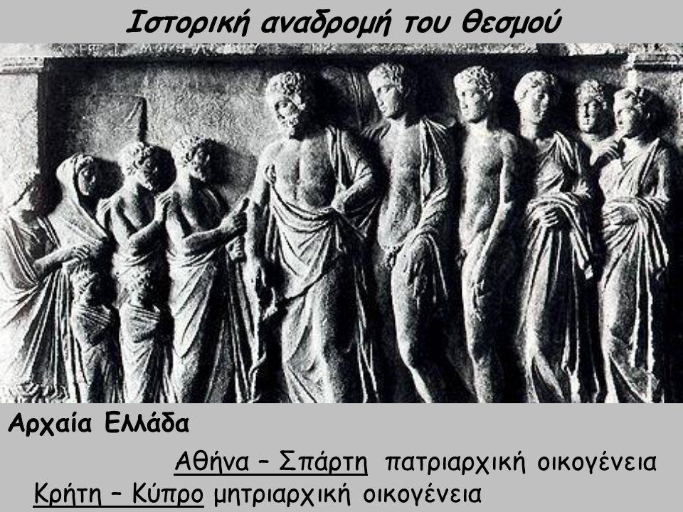 Προϊστορική εποχή μητριαρχία με την εμφάνιση αρότρου πατριαρχία Ιστορική αναδρομή του θεσμού Αρχαία Ελλάδα Αθήνα – Σπάρτη πατριαρχική οικογένεια Κρήτη