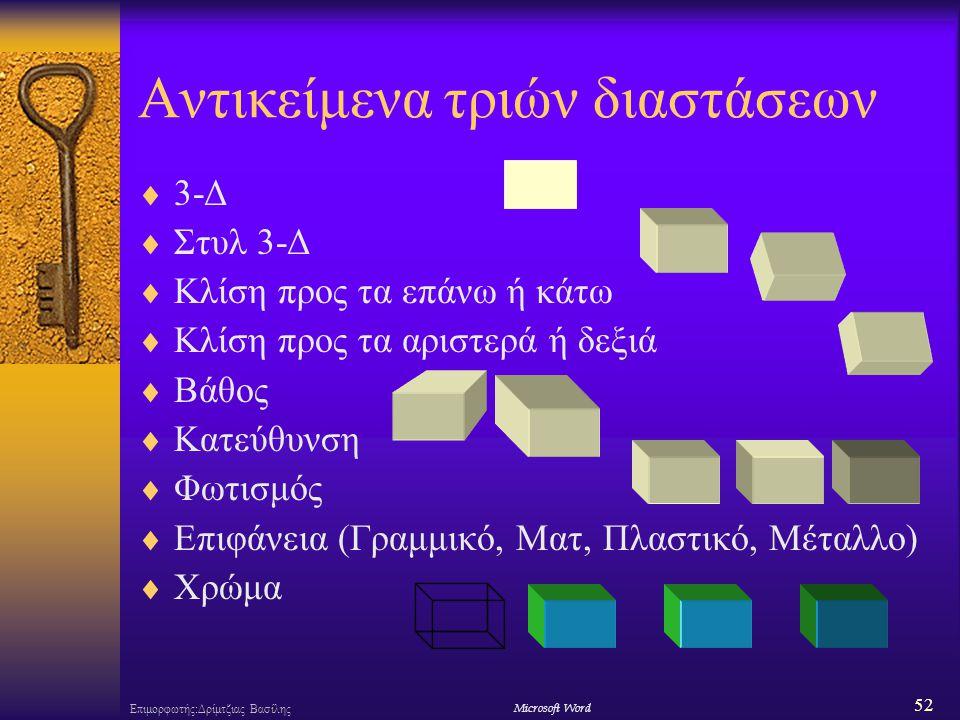 52 Επιμορφωτής:Δρίμτζιας ΒασίληςΜicrosoft Word Αντικείμενα τριών διαστάσεων  3-Δ  Στυλ 3-Δ  Κλίση προς τα επάνω ή κάτω  Κλίση προς τα αριστερά ή δεξιά  Βάθος  Κατεύθυνση  Φωτισμός  Επιφάνεια (Γραμμικό, Ματ, Πλαστικό, Μέταλλο)  Χρώμα
