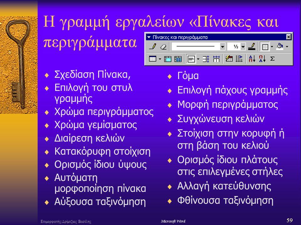 59 Επιμορφωτής:Δρίμτζιας ΒασίληςΜicrosoft Word Η γραμμή εργαλείων «Πίνακες και περιγράμματα  Σχεδίαση Πίνακα,  Επιλογή του στυλ γραμμής  Χρώμα περιγράμματος  Χρώμα γεμίσματος  Διαίρεση κελιών  Κατακόρυφη στοίχιση  Ορισμός ίδιου ύψους  Αυτόματη μορφοποίηση πίνακα  Αύξουσα ταξινόμηση  Γόμα  Επιλογή πάχους γραμμής  Μορφή περιγράμματος  Συγχώνευση κελιών  Στοίχιση στην κορυφή ή στη βάση του κελιού  Ορισμός ίδιου πλάτους στις επιλεγμένες στήλες  Αλλαγή κατεύθυνσης  Φθίνουσα ταξινόμηση