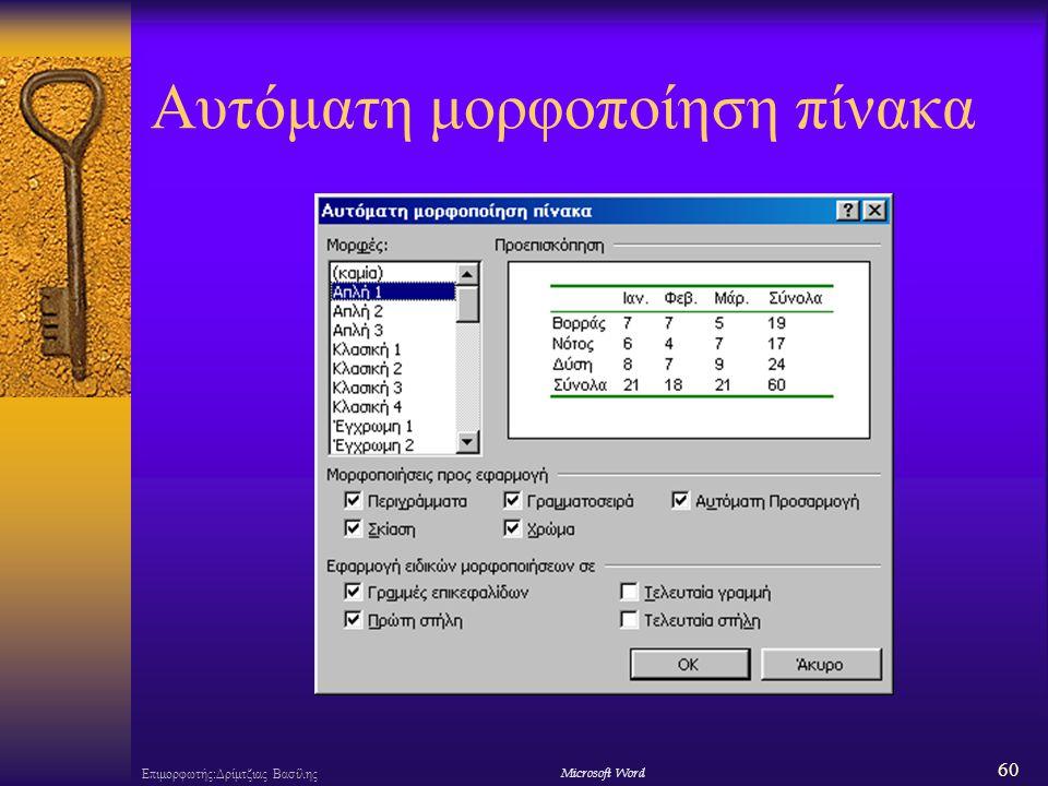 60 Επιμορφωτής:Δρίμτζιας ΒασίληςΜicrosoft Word Αυτόματη μορφοποίηση πίνακα