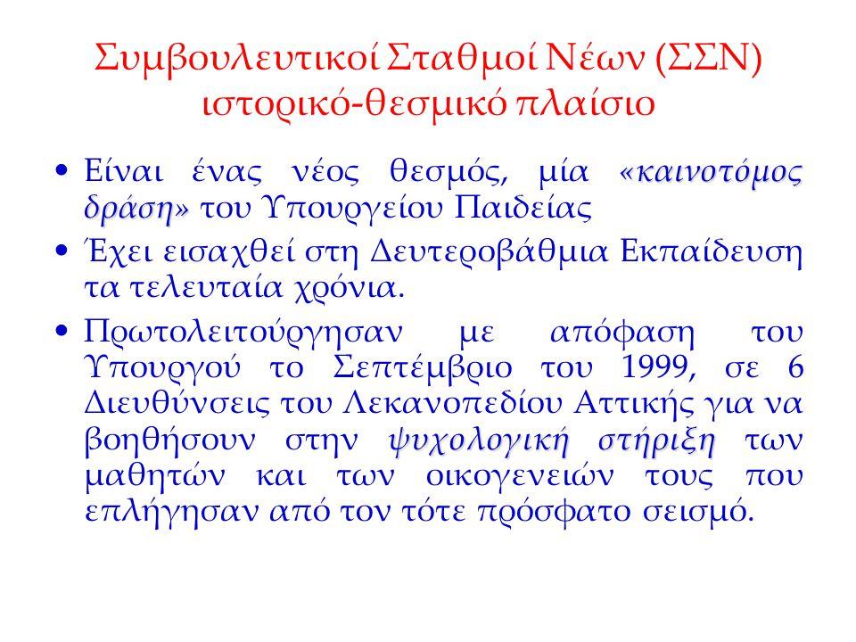 Συμβουλευτικοί Σταθμοί Νέων (ΣΣΝ) ιστορικό-θεσμικό πλαίσιο Τον Αύγουστο του 2001 με απόφαση του Υπουργείου Παιδείας τοποθετήθηκαν αποσπασμένοι εκπαιδευτικοί ως Υπεύθυνοι των Σ.Σ.Ν.
