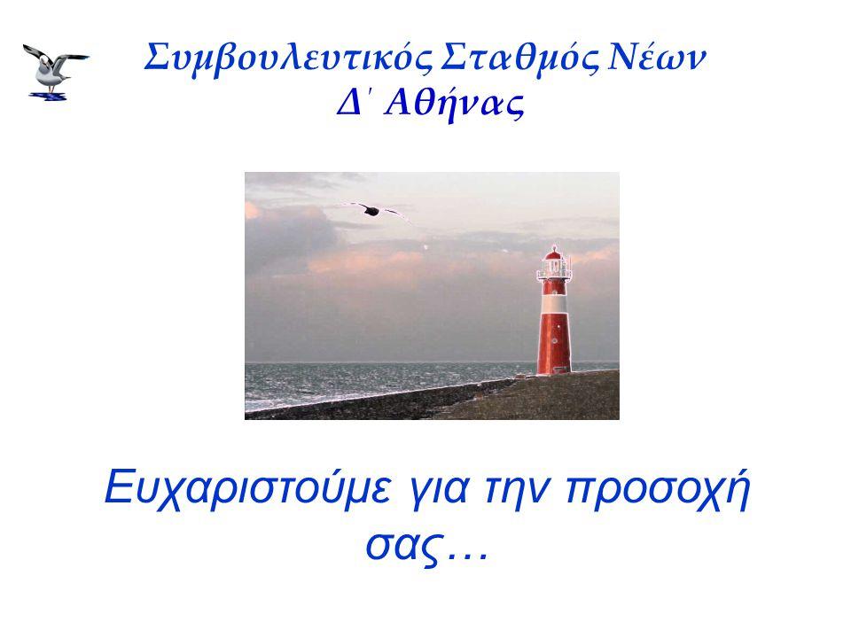 Συμβουλευτικός Σταθμός Νέων Δ΄ Αθήνας Ευχαριστούμε για την προσοχή σας…
