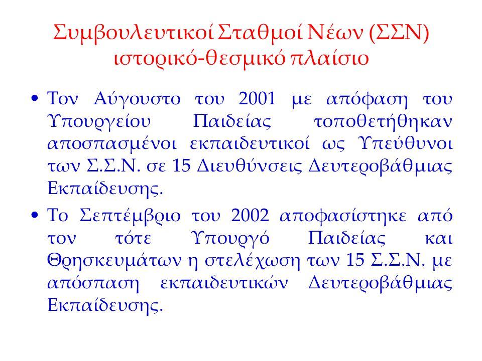Συμβουλευτικοί Σταθμοί Νέων (ΣΣΝ) ιστορικό-θεσμικό πλαίσιο Τον Αύγουστο του 2001 με απόφαση του Υπουργείου Παιδείας τοποθετήθηκαν αποσπασμένοι εκπαιδε