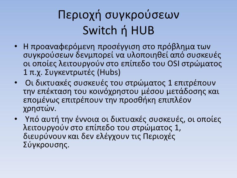 Περιοχή συγκρούσεων Switch ή HUB Η προαναφερόμενη προσέγγιση στο πρόβλημα των συγκρούσεων δενμπορεί να υλοποιηθεί από συσκευές οι οποίες λειτουργούν στο επίπεδο του OSI στρώματος 1 π.χ.
