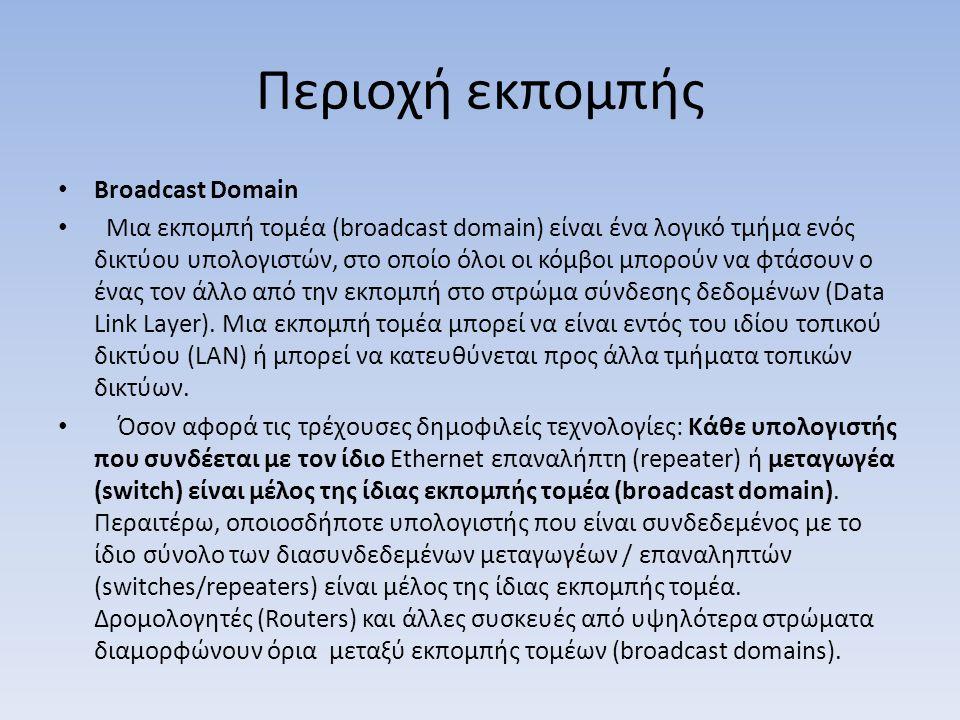 Περιοχή εκπομπής Broadcast Domain Μια εκπομπή τομέα (broadcast domain) είναι ένα λογικό τμήμα ενός δικτύου υπολογιστών, στο οποίο όλοι οι κόμβοι μπορούν να φτάσουν ο ένας τον άλλο από την εκπομπή στο στρώμα σύνδεσης δεδομένων (Data Link Layer).