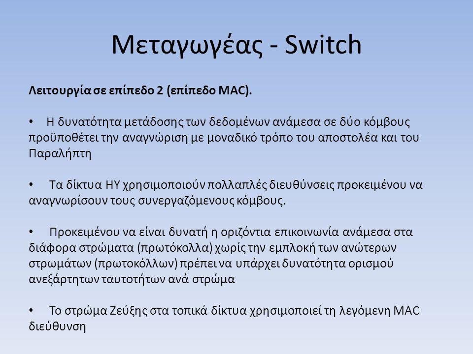 Μεταγωγέας - Switch Λειτουργία σε επίπεδο 2 (επίπεδο MAC). Η δυνατότητα μετάδοσης των δεδομένων ανάμεσα σε δύο κόμβους προϋποθέτει την αναγνώριση με μ