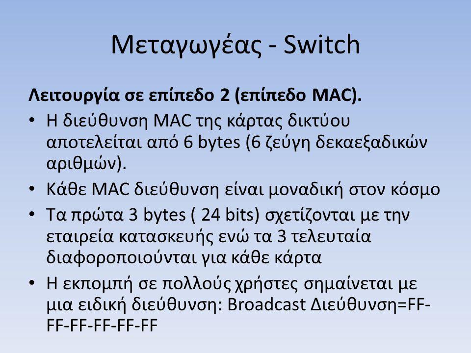 Μεταγωγέας - Switch Λειτουργία σε επίπεδο 2 (επίπεδο MAC). Η διεύθυνση MAC της κάρτας δικτύου αποτελείται από 6 bytes (6 ζεύγη δεκαεξαδικών αριθμών).