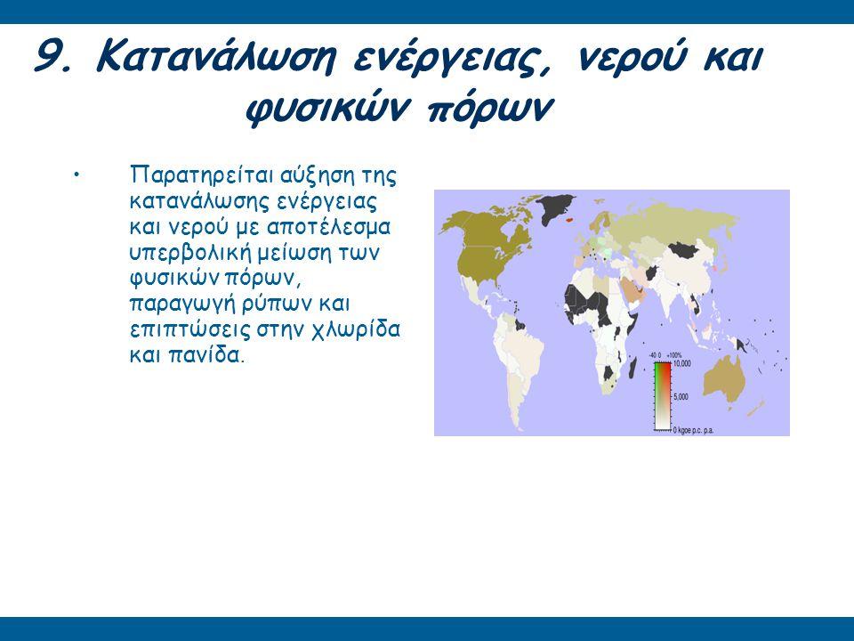 9. Κατανάλωση ενέργειας, νερού και φυσικών πόρων Παρατηρείται αύξηση της κατανάλωσης ενέργειας και νερού με αποτέλεσμα υπερβολική μείωση των φυσικών π