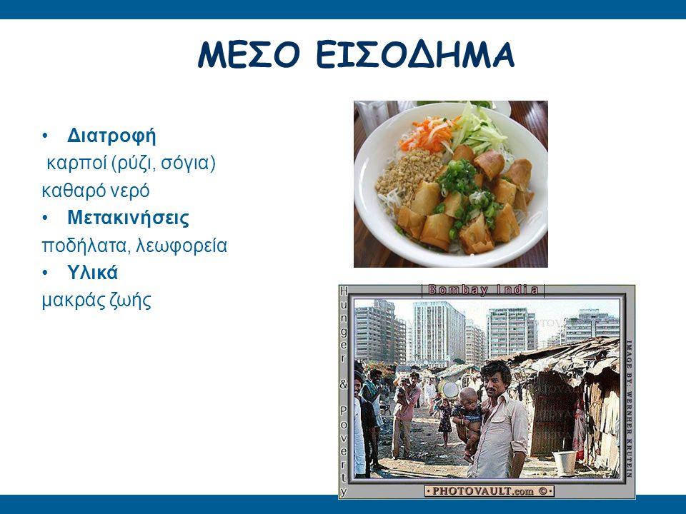 (ΥΠΕΡ)ΚΑΤΑΝΑΛΩΤΕΣ Διατροφή κρέας, έτοιμο φαγητό, αναψυκτικά Μετακινήσεις ιδιωτικά αυτοκίνητα Υλικά μίας χρήσης Διατροφή