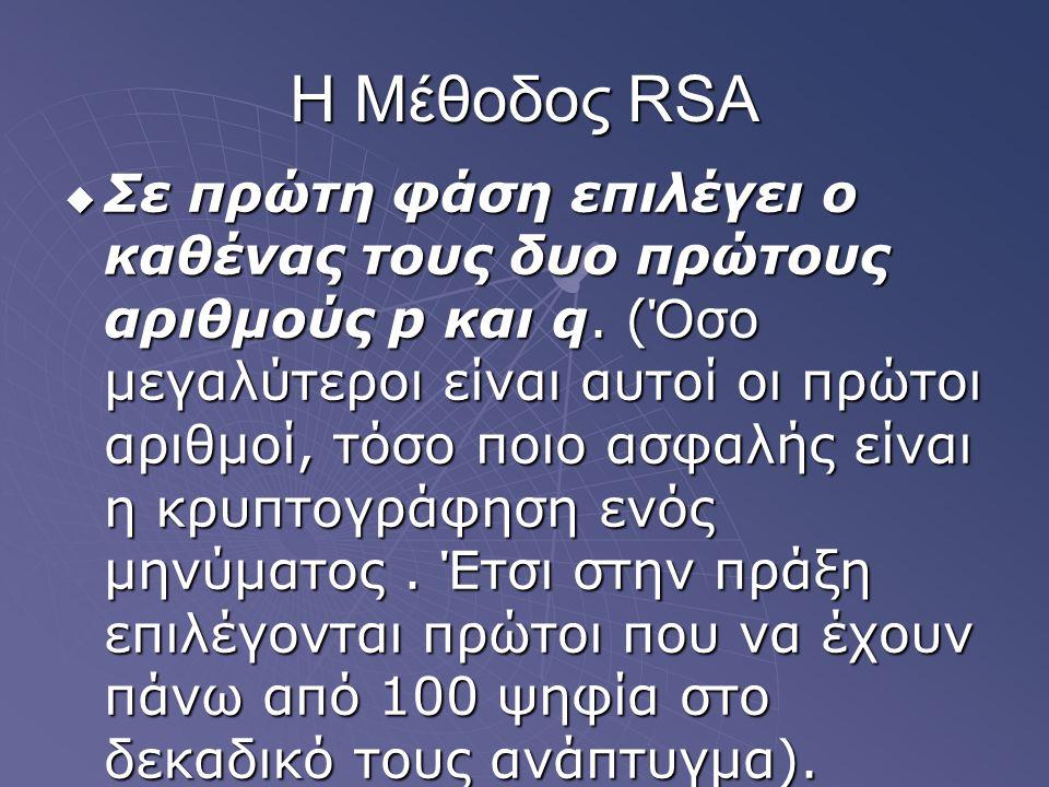 Η Μέθοδος RSA  Σε πρώτη φάση επιλέγει ο καθένας τους δυο πρώτους αριθμούς p και q. (Όσο μεγαλύτεροι είναι αυτοί οι πρώτοι αριθμοί, τόσο ποιο ασφαλής