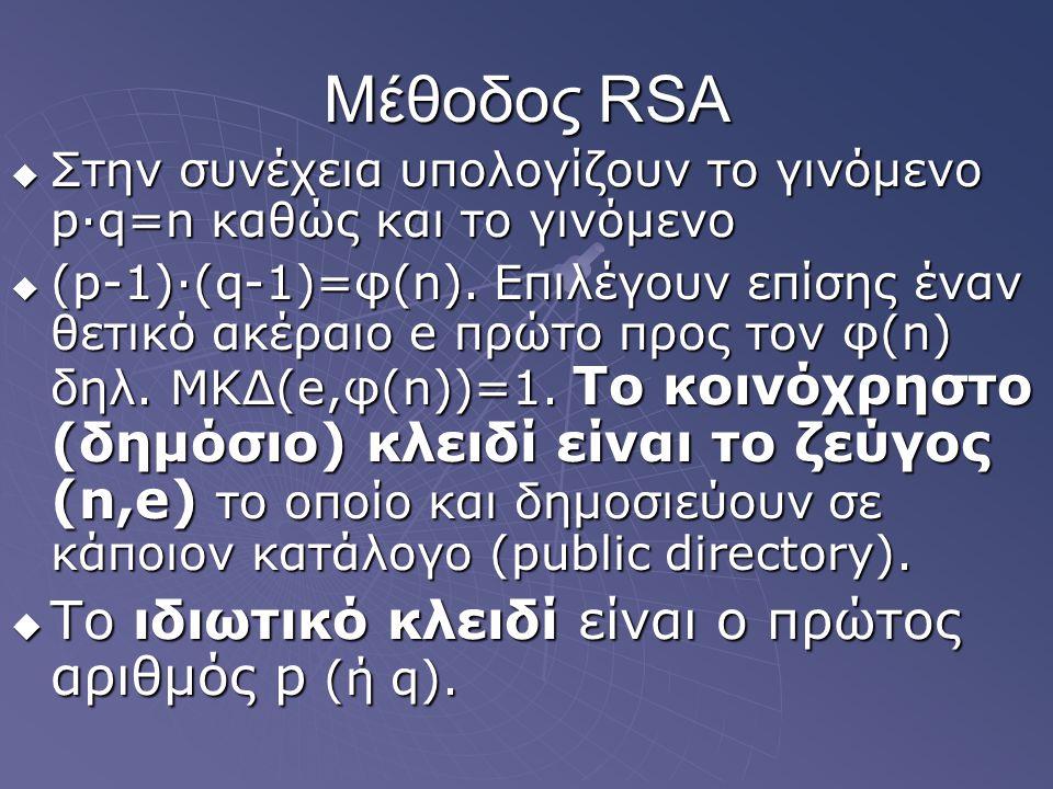 Μέθοδος RSA  Στην συνέχεια υπολογίζουν το γινόμενο p∙q=n καθώς και το γινόμενο  (p-1)∙(q-1)=φ(n). Επιλέγουν επίσης έναν θετικό ακέραιο e πρώτο προς