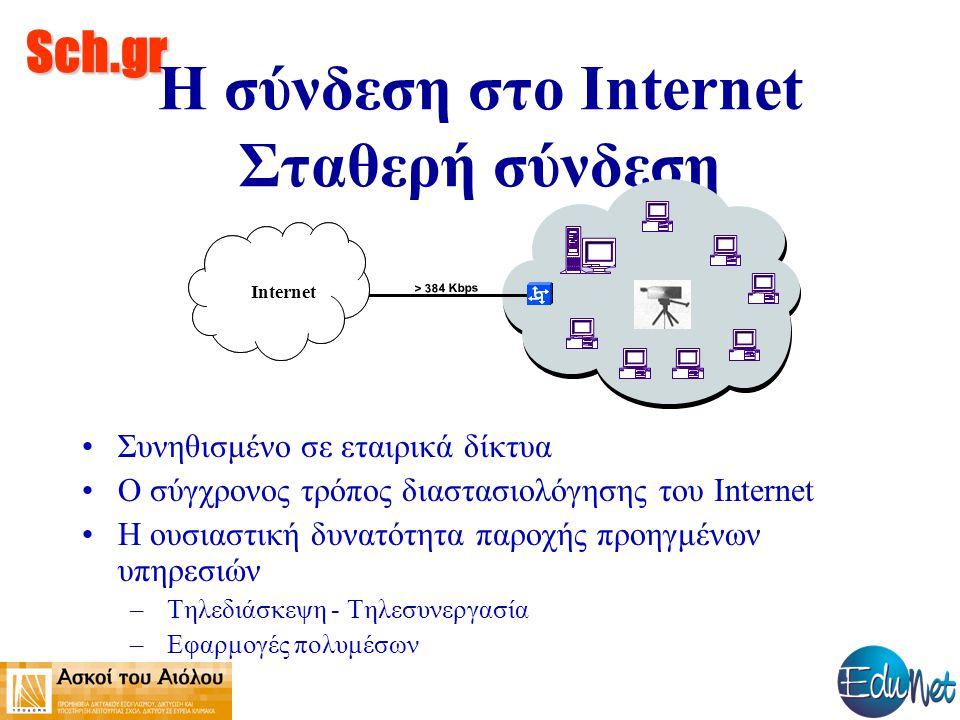 Sch.gr Η σύνδεση στο Internet Σταθερή σύνδεση Συνηθισμένο σε εταιρικά δίκτυα Ο σύγχρονος τρόπος διαστασιολόγησης του Internet Η ουσιαστική δυνατότητα παροχής προηγμένων υπηρεσιών – Τηλεδιάσκεψη - Τηλεσυνεργασία – Εφαρμογές πολυμέσων > 384 Kbps Internet