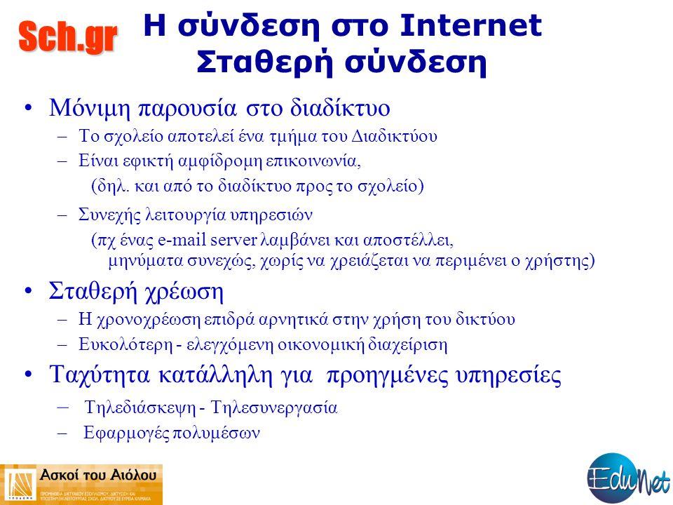 Sch.gr Η σύνδεση στο Internet Σταθερή σύνδεση Μόνιμη παρουσία στο διαδίκτυο –Το σχολείο αποτελεί ένα τμήμα του Διαδικτύου –Είναι εφικτή αμφίδρομη επικοινωνία, (δηλ.