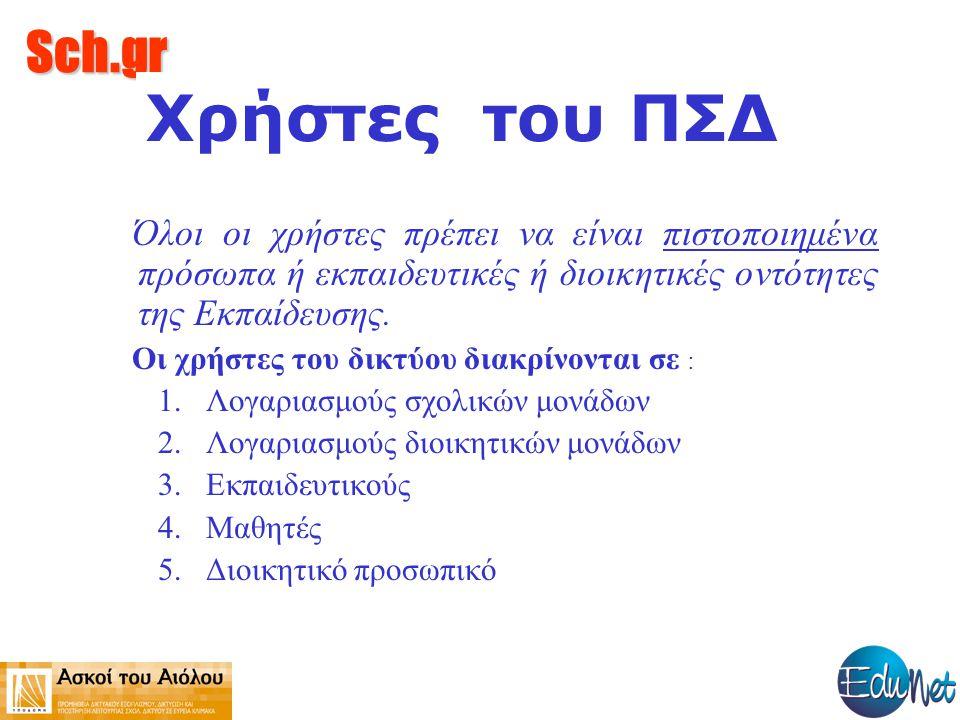 Sch.gr Χρήστες του ΠΣΔ Όλοι οι χρήστες πρέπει να είναι πιστοποιημένα πρόσωπα ή εκπαιδευτικές ή διοικητικές οντότητες της Εκπαίδευσης. Οι χρήστες του δ
