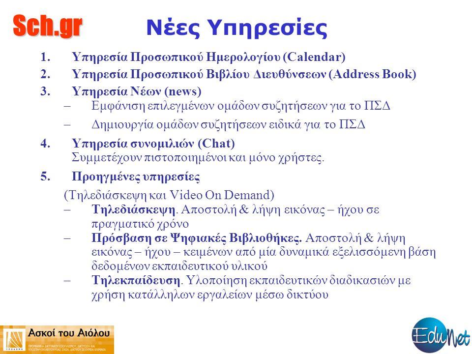 Sch.gr Νέες Υπηρεσίες 1.Υπηρεσία Προσωπικού Ημερολογίου (Calendar) 2.Υπηρεσία Προσωπικού Βιβλίου Διευθύνσεων (Address Book) 3.Υπηρεσία Νέων (news) –Εμ
