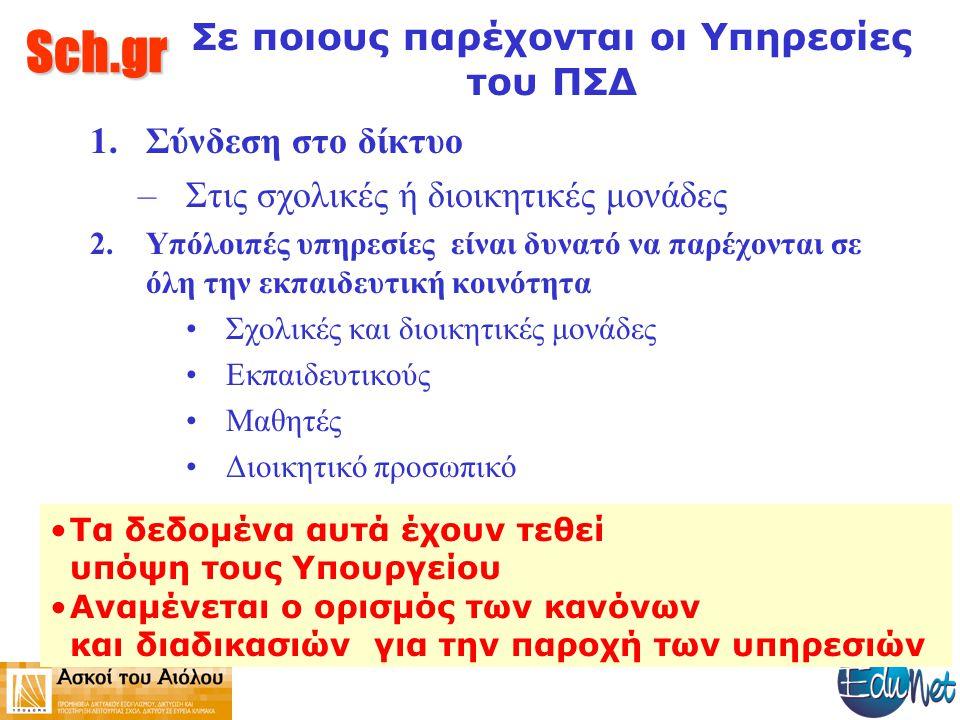 Sch.gr Σε ποιους παρέχονται οι Υπηρεσίες του ΠΣΔ 1.Σύνδεση στο δίκτυο –Στις σχολικές ή διοικητικές μονάδες 2.Υπόλοιπές υπηρεσίες είναι δυνατό να παρέχονται σε όλη την εκπαιδευτική κοινότητα Σχολικές και διοικητικές μονάδες Εκπαιδευτικούς Μαθητές Διοικητικό προσωπικό Τα δεδομένα αυτά έχουν τεθεί υπόψη τους Υπουργείου Αναμένεται ο ορισμός των κανόνων και διαδικασιών για την παροχή των υπηρεσιών